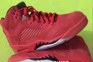 """Detailed Images Of The """"Red Suede"""" Air Jordan 5 Surface"""