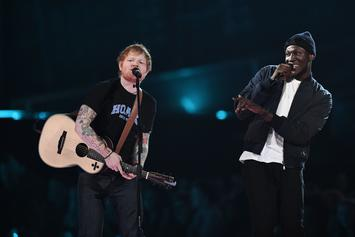 "Stormzy Joins Ed Sheeran Onstage For ""Shape Of You"" At The Brit Awards"