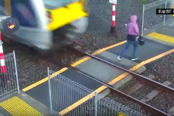 Woman Inches Away From Being Hit By Train In New Zealand