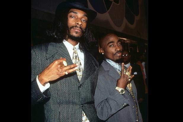 Snoop Dogg and Tupac dressed like 20s era gangsters, but made it fresh and awesome