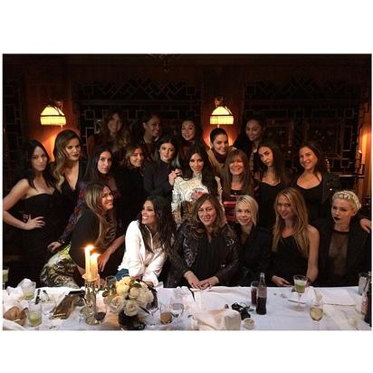"Kim Kardashian with her girlfriends at the ""last supper"""