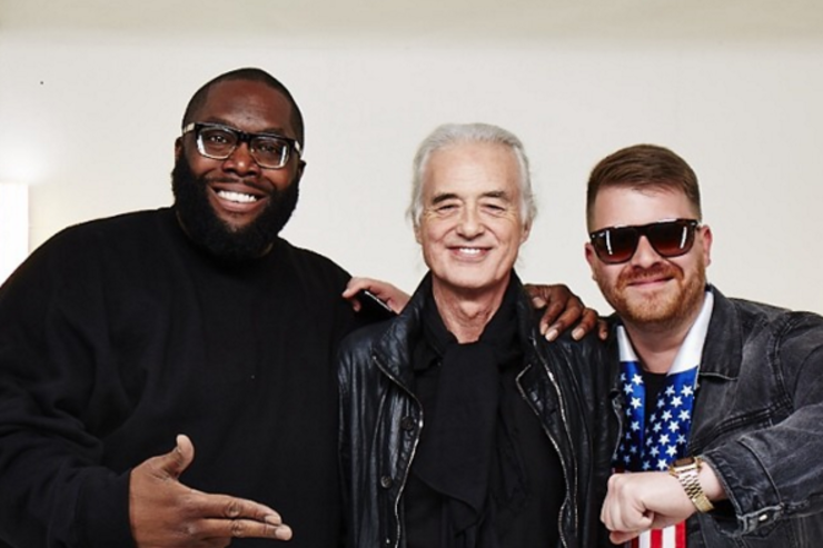 Killer Mike El-P Run the Jewels pose Led Zeppelin's Jimmy Page