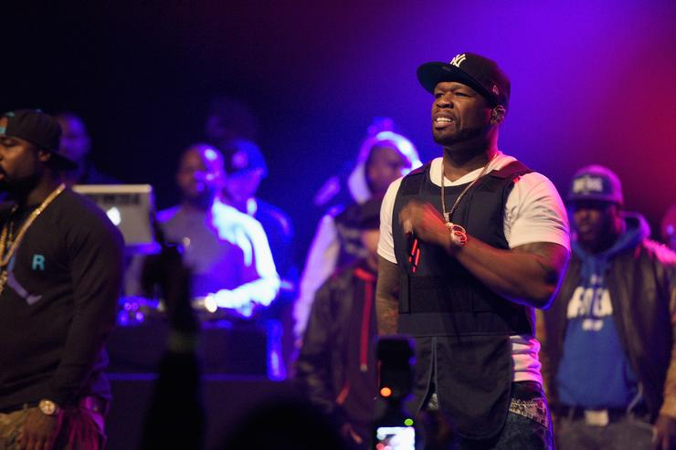 50 Cent performing at the breakfast club anniversary party