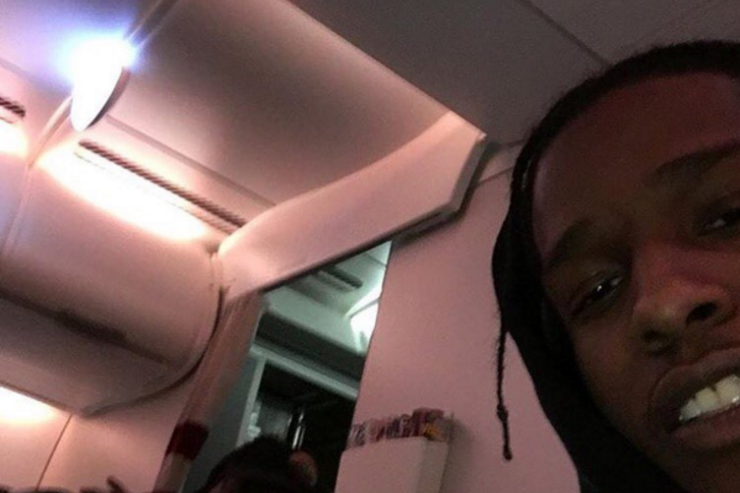 A$AP Rocky and Travi$ Scott appear together on a plane.