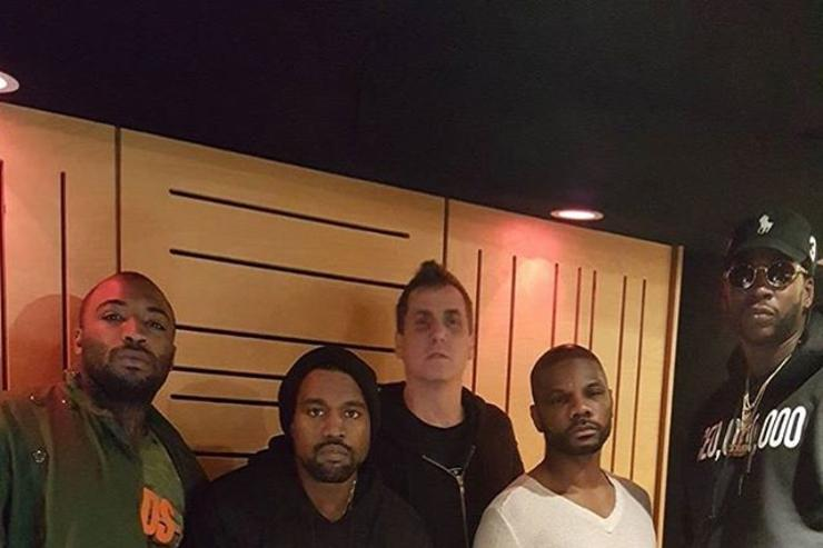 Kanye West in the studio with Kirk Frankland, Mike Dean