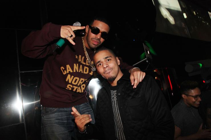 Rapper's Drake and J. Cole attend First Down Friday at Sensu on February 3, 2012 in Indianapolis, Indiana