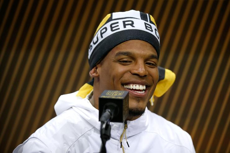 Cam Newton at Super Bowl 50 media week.