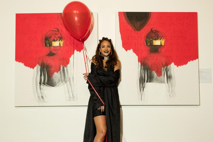 Rihanna at her cover art reveal party for ANTI