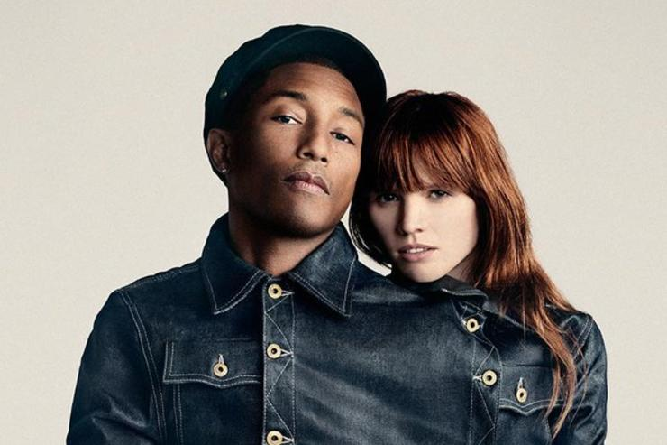 Pharrell and a model pose in G-Star denim.