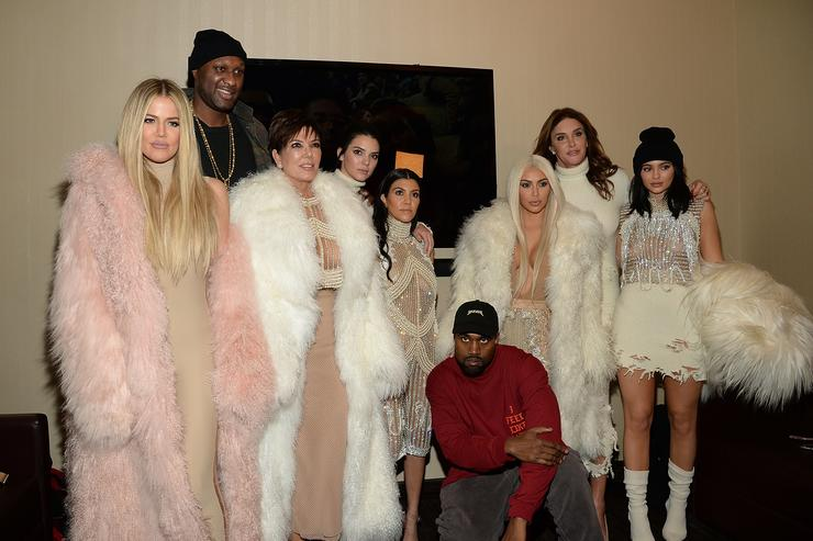 Kanye West and the Kardashians backstage at Yeezy Season 3 show