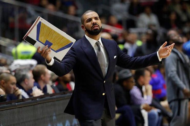 Drake coaching on sidelines at NBA Celebrity Game
