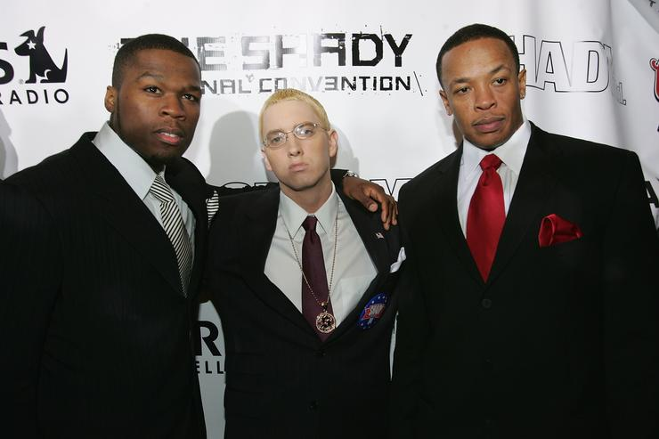 Eminem, 50 Cent and Dr. Dre in 2004