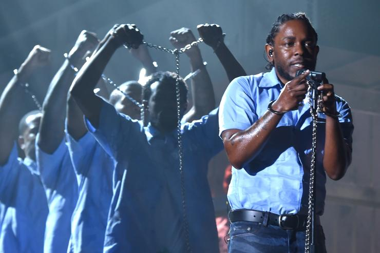 Rapper Kendrick Lamar performs onstage during The 58th GRAMMY Awards at Staples Center on February 15, 2016 in Los Angeles, California