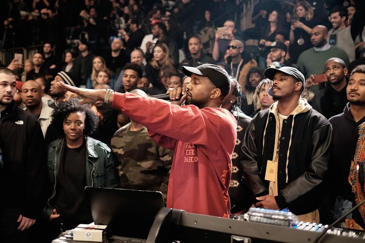 Kanye West performs during Yeezy 3 show