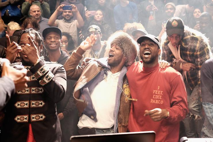 Kanye West performs during Kanye West Yeezy Season 3 on February 11, 2016 in New York City with Kid Cudi, Travis Scott, 2 Chainz