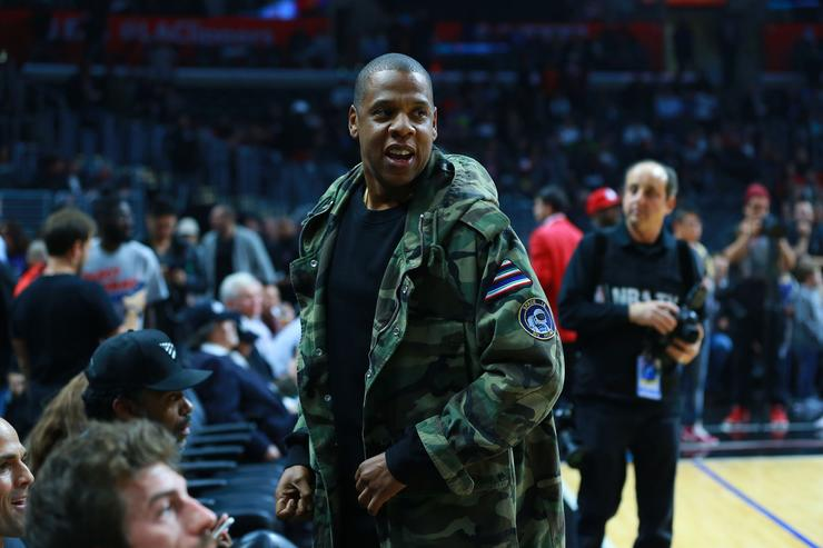 apper/musical artist and producer Jay Z attends the NBA game between the Miami Heat and the Los Angeles Clippers at Staples Center