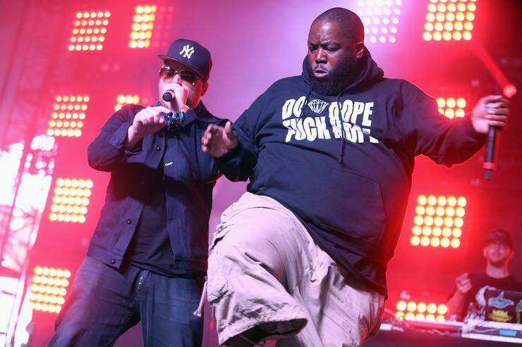Rappers El-P and Killer Mike of Run The Jewels perform onstage during day 2 of the 2015 Coachella Valley Music And Arts Festival (Weekend 2) at The Empire Polo Club on April 18, 2015 in Indio, California