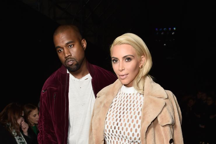 Kim Kardashian West and Kanye West attend the Balenciaga show as part of the Paris Fashion Week Womenswear Fall/Winter 2015/2016 on March 6, 2015 in Paris, France.