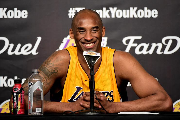 Kobe Bryant #24 of the Los Angeles Lakers address the media during the post game news conference after scoring 60 point in his final NBA game at Staples Center on April 13, 2016 in Los Angeles, California.