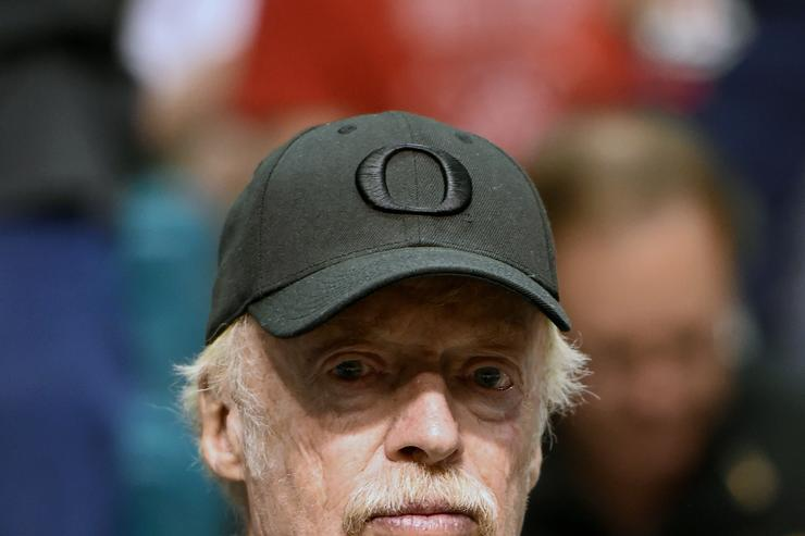 ike, Inc. Co-Founder and Chairman Phil Knight attends a semifinal game of the Pac-12 Basketball Tournament between the Arizona Wildcats and the Oregon Ducks at MGM Grand Garden Arena on March 11, 2016 in Las Vegas, Nevada. Oregon won 95-89 in overtime.