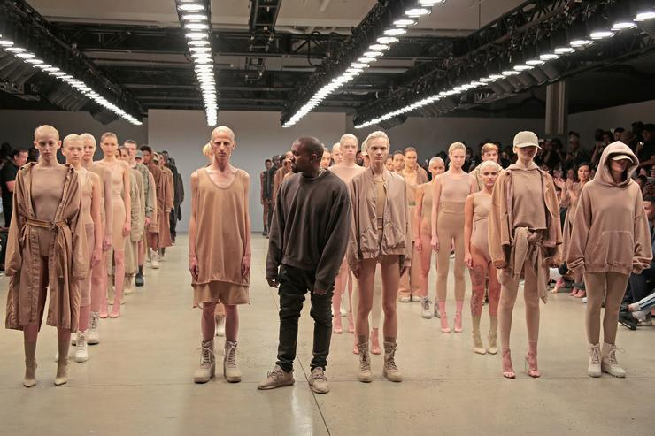 Kanye West poses during the finale of Yeezy Season 2 during New York Fashion Week at Skylight Modern on September 16, 2015 in New York City.