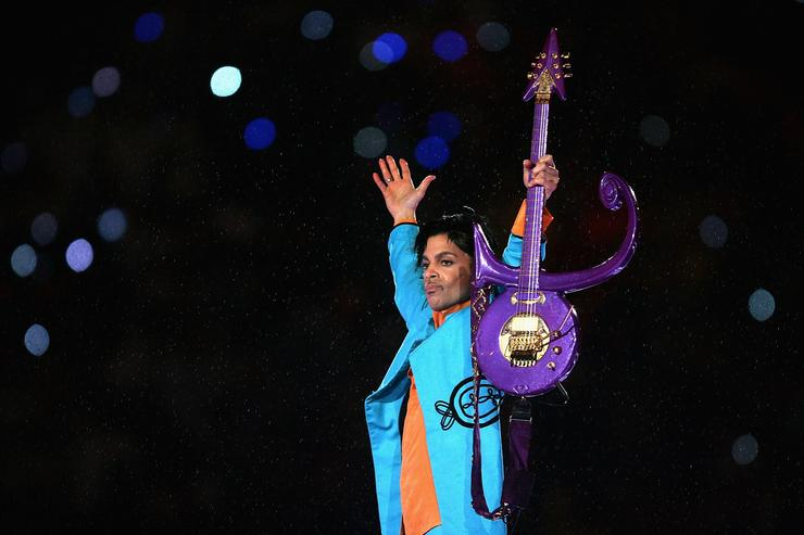 Prince performing at the Super Bowl halftime show