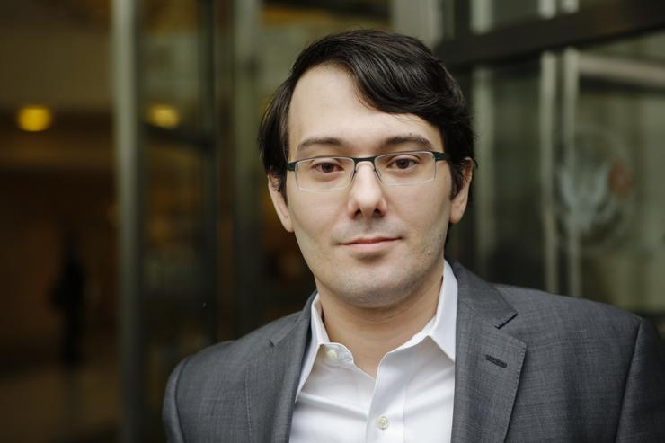 Martin Shkreli, former Chief Executive Officer of Turing Pharmaceuticals LLC, exits federal court on May 3, 2016 in the Brooklyn borough of New York City. Shkreli appeared in U.S. District Court to face multiple fraud charges, including illegally siphoning money from one of his companies to pay off bad market bets made by another of his companies.