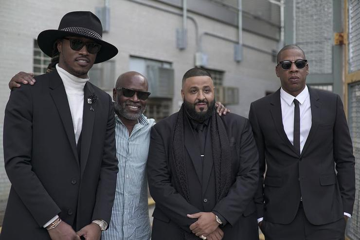 "Khaled, Jay Z & Future on video set of ""I Got The Keys"""