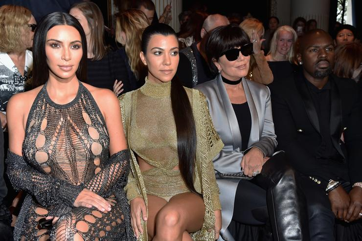 Kim Kardashian and Kourtney Kardashian and Kris Jenner at Balmain PFW