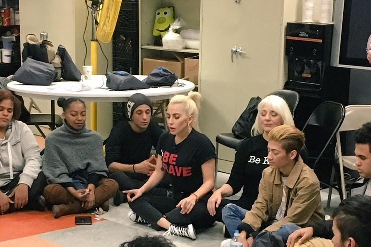 Lady Gaga works with homeless Harlem youth.