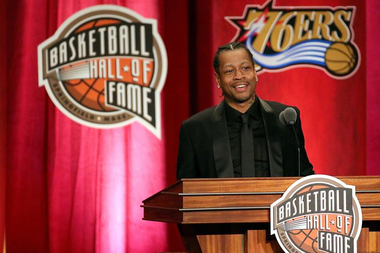 Allen Iverson reacts during the 2016 Basketball Hall of Fame Enshrinement Ceremony at Symphony Hall on September 9, 2016 in Springfield, Massachusetts.