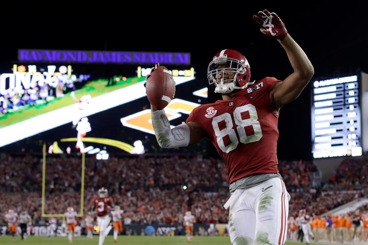 Tight end O.J. Howard #88 of the Alabama Crimson Tide celebrates after scoring a 68-yard touchdown during the third quarter against the Clemson Tigers in the 2017 College Football Playoff National Championship Game at Raymond James Stadium on January 9, 2017 in Tampa, Florida
