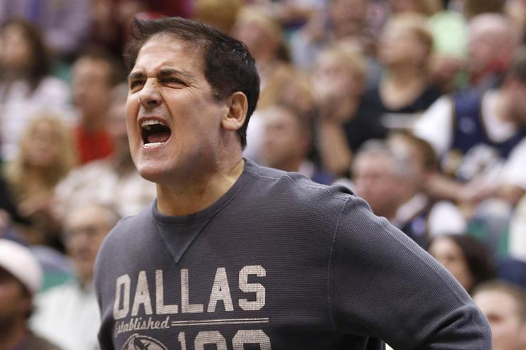 Owner of Dallas Mavericks, Mark Cuban, yells at the officials during a game against the Utah Jazz during the second half of an NBA game October 31, 2012 at EnergySolution Arena in Salt Lake City, Utah.
