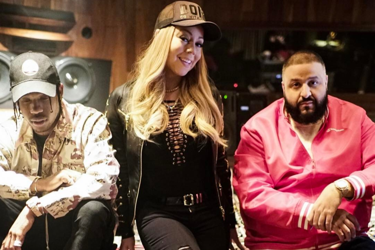 DJ Khaled, Mariah Carey & Travis Scott in studio