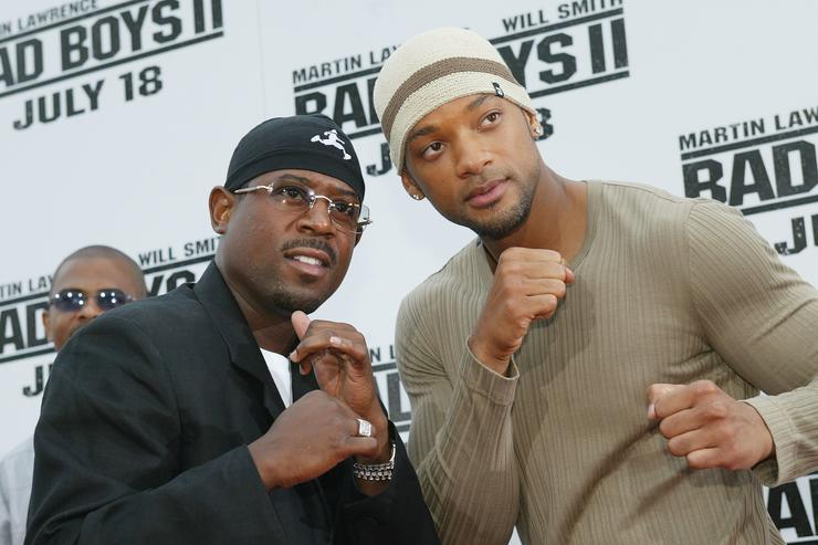 Actors Martin Lawrence and Will Smith attend the 'Bad Boys II' movie premiere at the Mann's Village theatre on July 9, 2003 in Westwood, California.