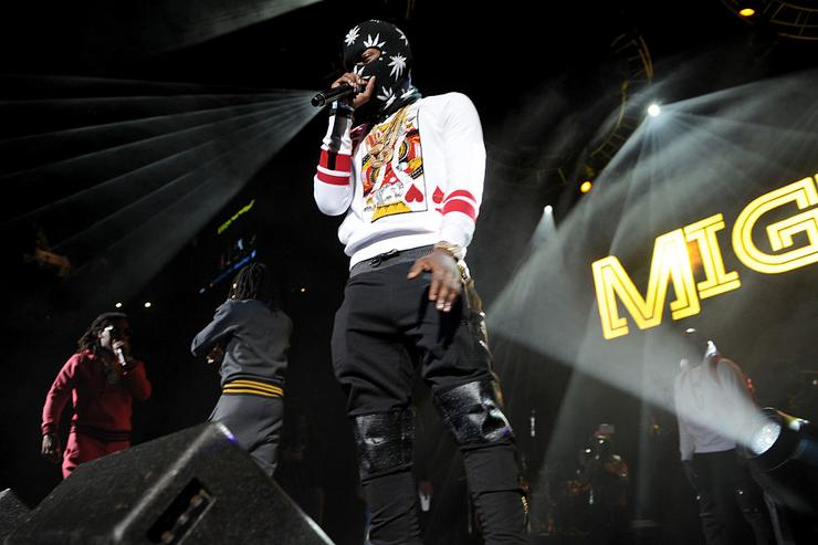Migos performs on stage at Power 105.1's Powerhouse 2014 at Barclays Center of Brooklyn on October 30, 2014 in New York City.