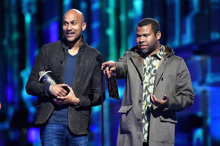 Actors Keegan-Michael Key (L) and Jordan Peele speak onstage during the 2016 MTV Movie Awards at Warner Bros. Studios on April 9, 2016 in Burbank, California.