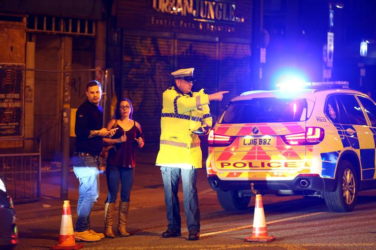 grounds outside Manchester England explosion