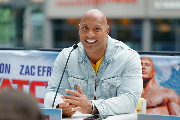 The Rock promoting Baywatch in Berlin