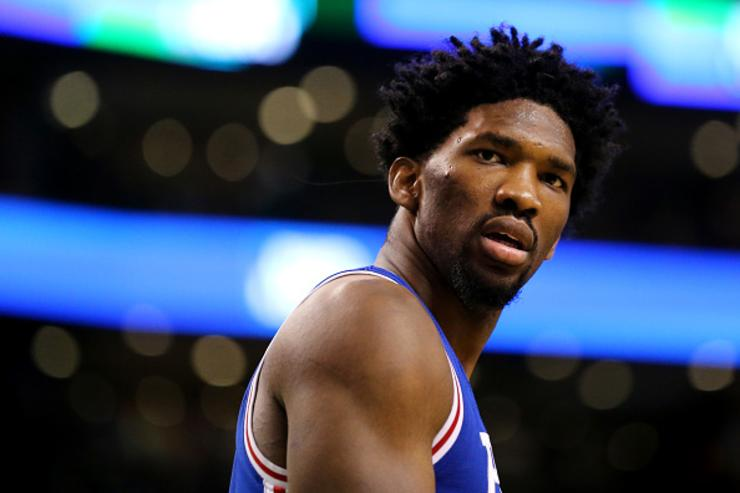 Embiid reacts during game against Boston