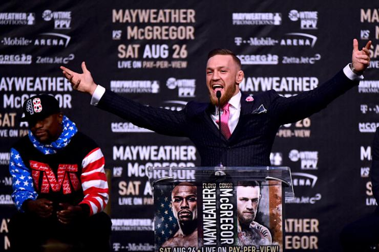 McGregor entertains the crowd at Mayweather presser
