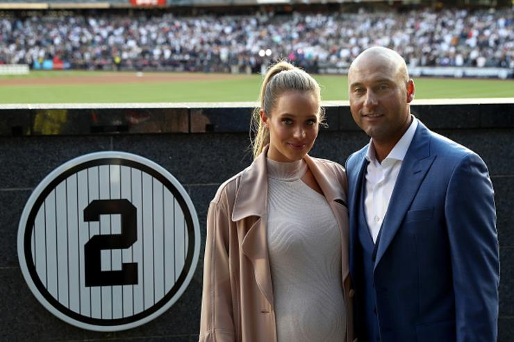 She's here! Derek Jeter and wife Hannah Davis welcome daughter Bella Raine